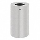 35 gal Round Fire-Resistant Trash Can, Metal, Silver - Also available in(3 1/2 gal - 55 gal, various sizes)